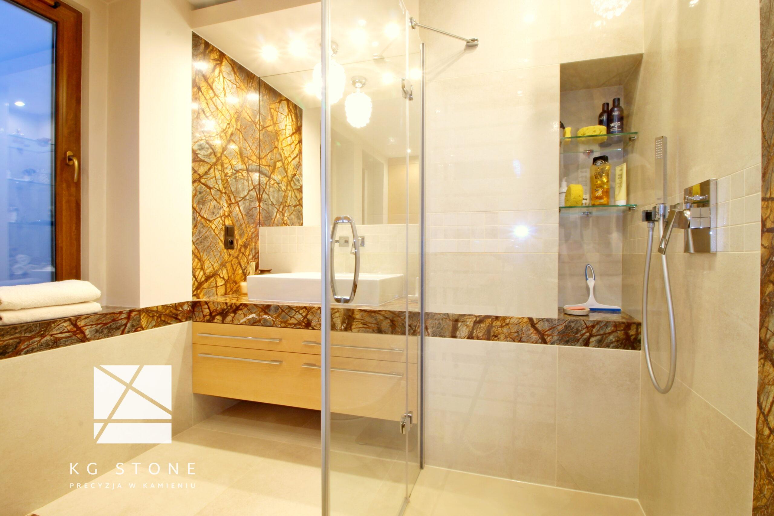 blaty łazienkowe z marmuru Forest Brown