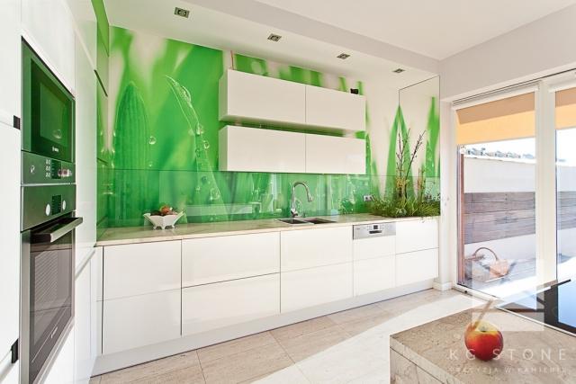 kuchnia z zieloną ścianką