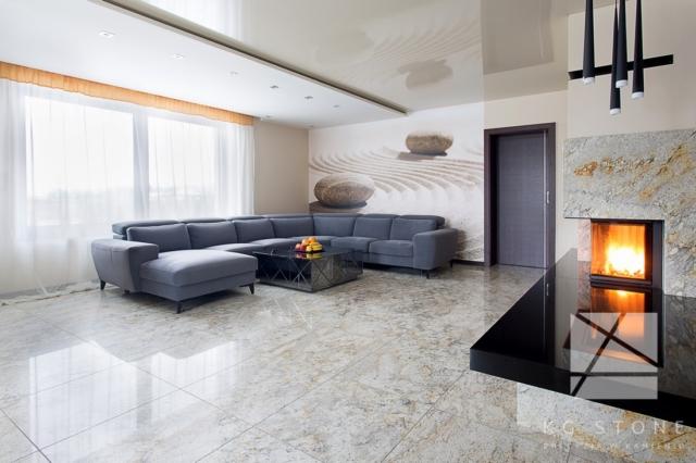 podłoga z kamienia w salonie
