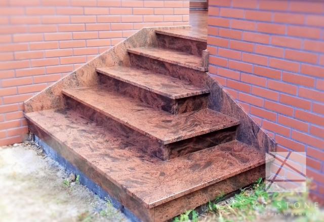 schody granitowe czerwone
